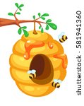 bee hive on tree cartoon | Shutterstock .eps vector #581941360
