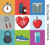 healthy lifestyle concept sport ... | Shutterstock .eps vector #581941738