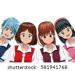 group anime girl manga | Shutterstock .eps vector #581941768