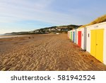 in woolacombe beach  devon ... | Shutterstock . vector #581942524