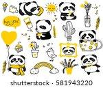 panda doodle kid set. simple... | Shutterstock .eps vector #581943220