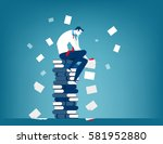 tired businessman at work.... | Shutterstock .eps vector #581952880