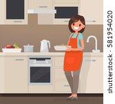 woman housewife preparing food... | Shutterstock .eps vector #581954020