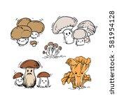 hand drawn cute mushrooms | Shutterstock .eps vector #581954128