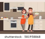 husband and wife are preparing... | Shutterstock .eps vector #581958868