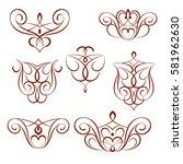 calligraphic design elements... | Shutterstock .eps vector #581962630