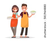 husband and wife are preparing... | Shutterstock .eps vector #581964880