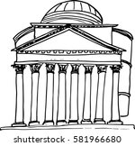 hand drawn pantheon in rome... | Shutterstock .eps vector #581966680