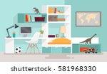 interior boy's room. vector... | Shutterstock .eps vector #581968330