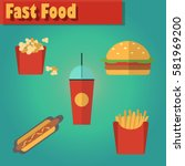 street city food flat design.... | Shutterstock .eps vector #581969200