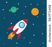 rocket flat design concept for... | Shutterstock .eps vector #581971408