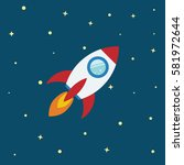 rocket flat design concept for... | Shutterstock .eps vector #581972644