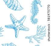 sea life. vector hand drawn... | Shutterstock .eps vector #581975770