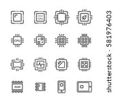 computer chips icons vector | Shutterstock .eps vector #581976403