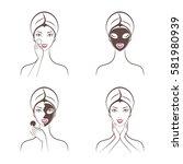 girl facials spa set vector | Shutterstock .eps vector #581980939