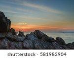 coral rock beach at sunset koh... | Shutterstock . vector #581982904