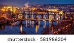 Prague Bridges At Dusk Shot...