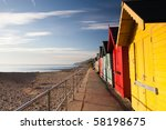 colourful beach huts on the...