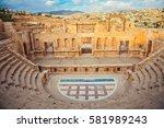 Antique Theatre. In ancient Roman city of Jerash, Jordan