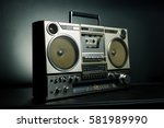 vintage radio boombox on dark... | Shutterstock . vector #581989990