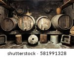 old private wine cellar with... | Shutterstock . vector #581991328