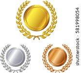 illustration of three medals on ...   Shutterstock .eps vector #581998054