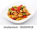 chicken in teriyaki sauce ... | Shutterstock . vector #582004918