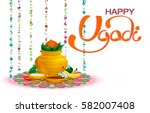 happy ugadi  holiday set ... | Shutterstock .eps vector #582007408