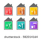 building with work tools as... | Shutterstock .eps vector #582014164