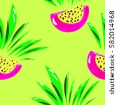 exotic fruit pattern. healthy... | Shutterstock .eps vector #582014968