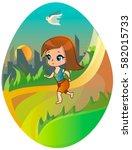 running girl on the city... | Shutterstock .eps vector #582015733