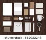 top view of white and carboard... | Shutterstock . vector #582022249