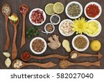 herbal tea selection used in... | Shutterstock . vector #582027040