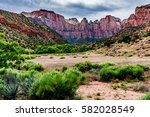 Beautiful Mountain Ranges, Cliffs, Peaks, and Rock Formations in Zion National Park, Utah. - stock photo