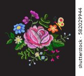 embroidery colorful dolly trend ... | Shutterstock .eps vector #582029944