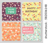 set of funny greeting cards... | Shutterstock .eps vector #582036148