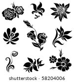 Set Of Black Flower Design...