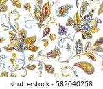 hand drawn flower seamless... | Shutterstock . vector #582040258