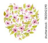 watercolor romantic heart of... | Shutterstock . vector #582042190