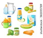 organic food for babies vector... | Shutterstock .eps vector #582055789