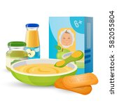 healthy breakfast for baby with ... | Shutterstock .eps vector #582055804