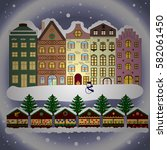 holidays. evening city winter... | Shutterstock . vector #582061450