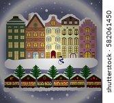 evening city winter landscape... | Shutterstock . vector #582061450