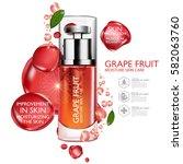 grapefruit serum moisture skin... | Shutterstock .eps vector #582063760