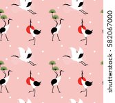 seamless pattern with japanese... | Shutterstock .eps vector #582067000