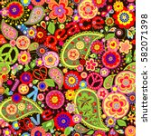 Hippie Colorful Floral Wallpaper
