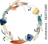 boho wreath with flower and... | Shutterstock .eps vector #582071680