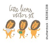 cute lions vector set with tree ... | Shutterstock .eps vector #582081208
