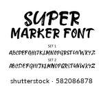 hand written marker font ... | Shutterstock .eps vector #582086878