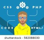 figure programmer glasses | Shutterstock .eps vector #582088030